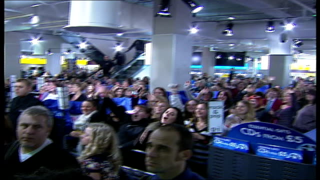 take that appearance at hmv oxford street * * beware high angle shot of crowd of fans screaming sot / crowd of fans singing take that song sot /... - take that stock videos and b-roll footage