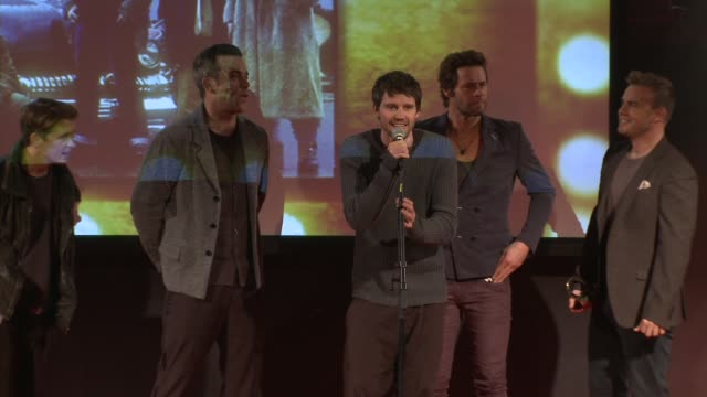 vidéos et rushes de take that with robbie williams receive hall of fame award at the q awards at london england - take that