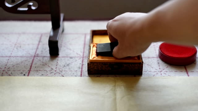 take the seal out of wooden box / shenzhen,china - timbro video stock e b–roll