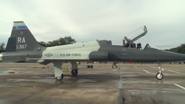 takeoff and recovery footage of t38c talon ii aircraft assigned to the 12th flying training wing at joint base san antoniorandolph texas - aircraft canopy stock videos & royalty-free footage