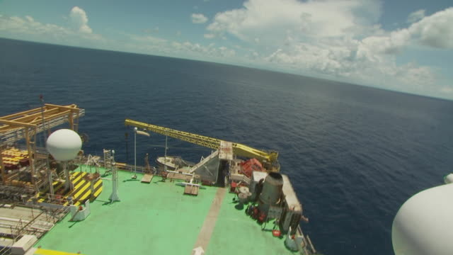 Takeoff from the helipad of an oil production platform, Australia