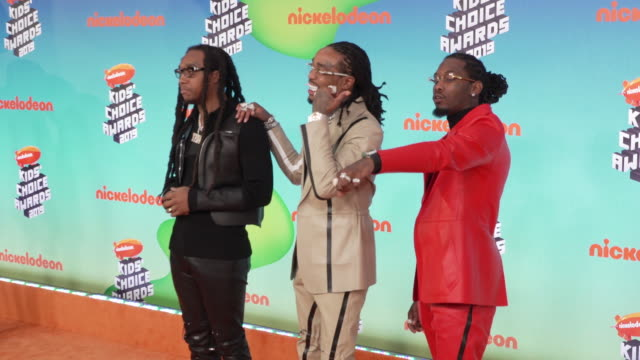takeoff quavo and offset of migos at the nickelodeon's 2019 kids' choice awards at galen center on march 23 2019 in los angeles california - nickelodeon kids' choice awards stock videos & royalty-free footage
