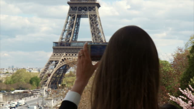 Taking a photo of Eiffel Tower (slow motion)