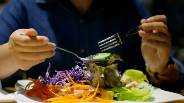 taking a salad for dieting , healthy food concept - spread food stock videos and b-roll footage
