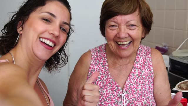 taking a selfie with the grandmother - form of communication stock videos & royalty-free footage
