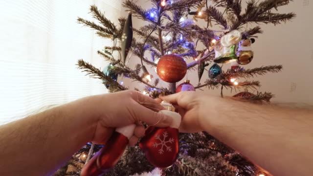Taking down Christmas tree.