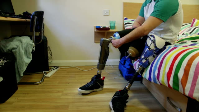 taking my legs off - prosthetic equipment stock videos & royalty-free footage
