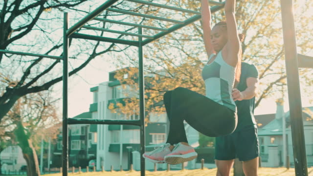 taking on new fitness challenges - pull ups stock videos & royalty-free footage
