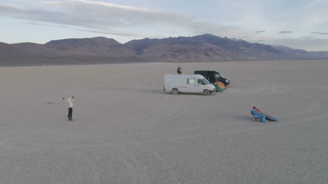 AERIAL: Taking Photos and Watching the Sun Rise in the Alvord Desert