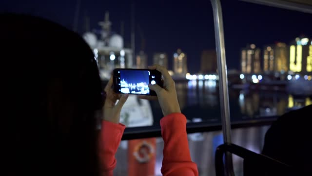 taking photos of pearl of qatar, doha city marina - persian gulf stock videos & royalty-free footage