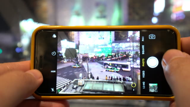 Taking picture of Pedestrians crossing street at Shibuya intersection