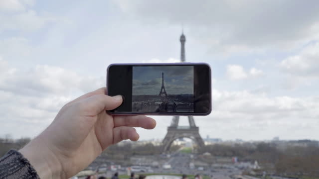 taking pictures of The Eiffel Tower Paris in winter