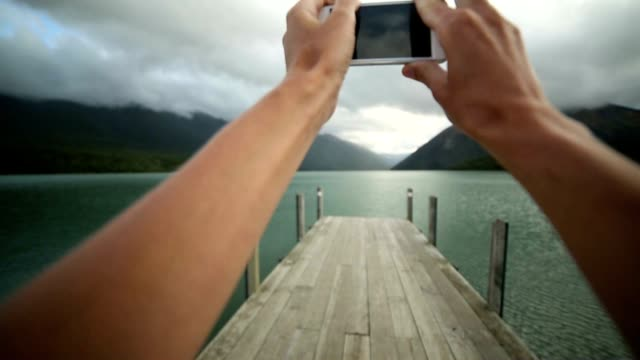 Taking pictures with a mobile phone. POV