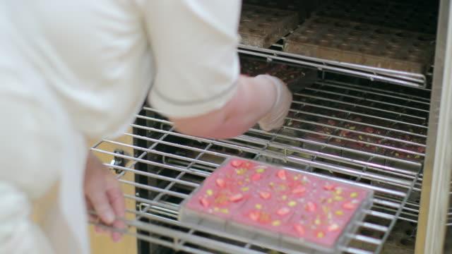 rubin-schokoriegel aus dem kühlschrank nehmen - nahrungsmittelfabrik stock-videos und b-roll-filmmaterial