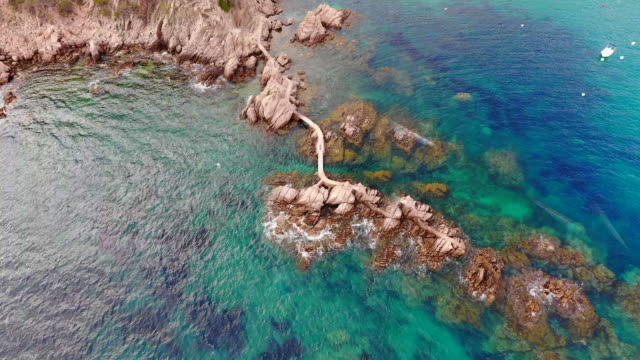 Taking selfie with drone in the Costa Brava shoreline with tiny planet effect and motion.