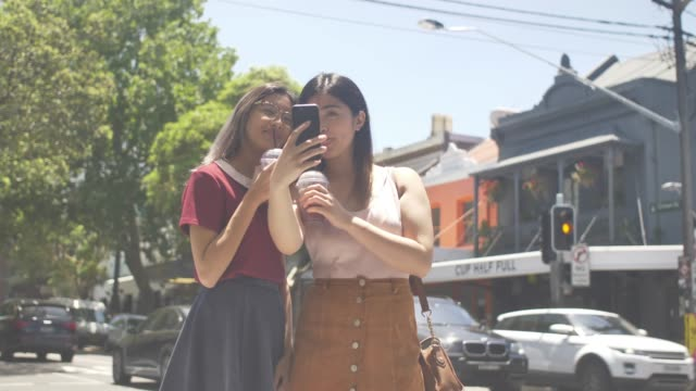 taking selfie with milk shake in surry hills, sydney - candid stock videos & royalty-free footage