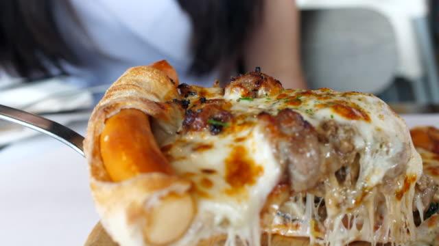 taking slice pizza - mozzarella stock videos & royalty-free footage