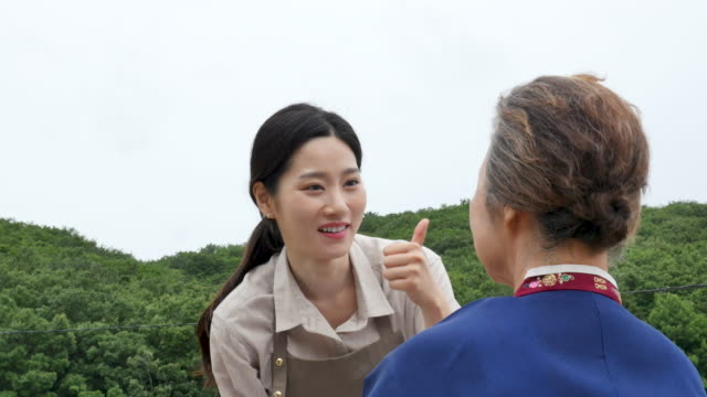 talent donation - young woman helping elderly to apply makeup on her face - フェイスブラシ点の映像素材/bロール