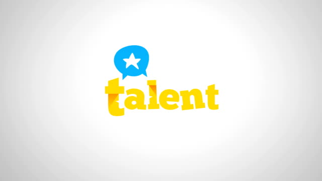talent logo with star 4k logo animation, conversation, headhunting and business concept with coloured, green screen and alpha versions - logo stock videos and b-roll footage