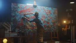 Talented Innovative Female Artist Draws with Her Hands on the Large Canvas, Using Fingers She Creates Colorful, Emotional, Sensual Oil Painting. Contemporary Painter Creating Abstract Modern Art. Zoom in
