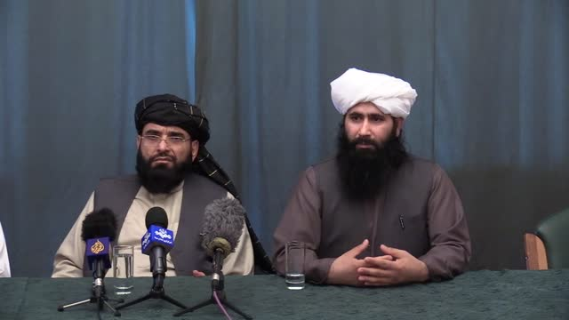 taliban officials and former governor of herat held a press conference after attending the meeting on afghan peace with the participation of... - qatar stock videos & royalty-free footage