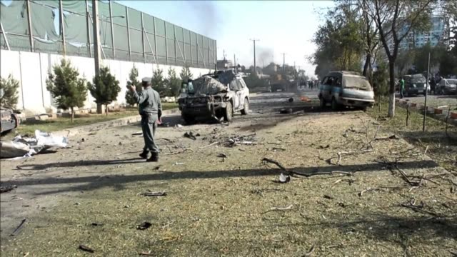 a taliban suicide bomber rams an explosives laden car into a convoy carrying foreign troops in kabul triggering a massive blast that shook the city... - casualty stock videos & royalty-free footage