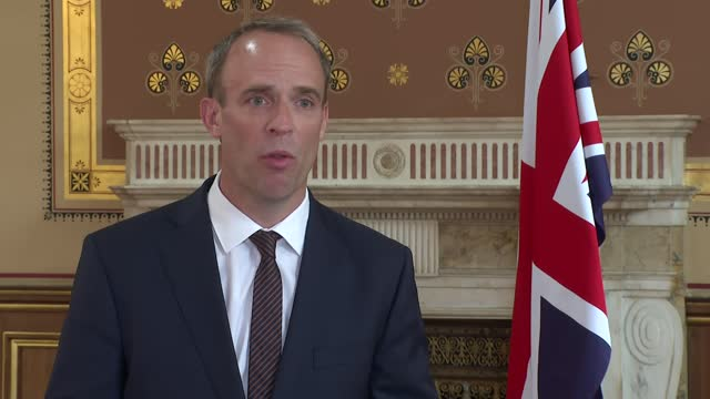 taliban takeover of afghanistan: dominic raab interview; england: london: int *picture as incoming* dominic raab mp interview sot. - on afghan... - reptile stock videos & royalty-free footage