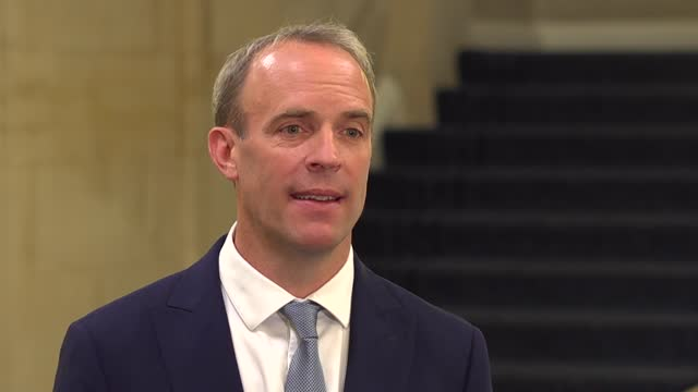 taliban takeover of afghanistan: dominic raab interview; england: london: int dominic raab mp interview sot. - we've seen a rapid taliban advance,... - war and conflict stock videos & royalty-free footage