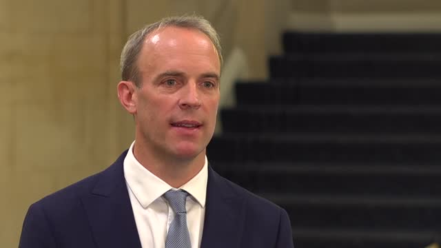 taliban takeover of afghanistan: dominic raab interview; england: london: int dominic raab mp interview sot. - i think the assessment under-estimated... - meeting stock videos & royalty-free footage
