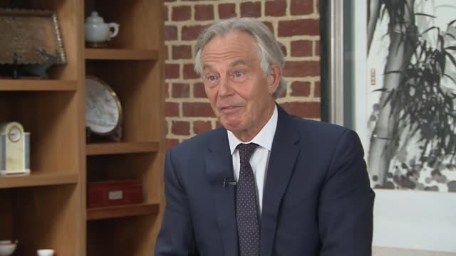 taliban takeover of afghanistan: tony blair interview; england: london: int tony blair interview sot. q: do you think inevitably that britain and its... - war and conflict stock videos & royalty-free footage
