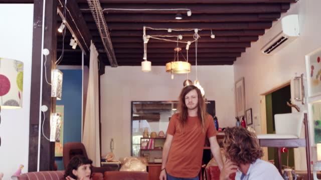 Talking furniture design in the shop
