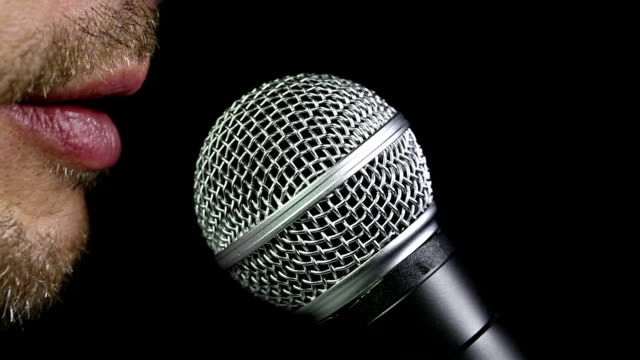 talking in microphone - microphone stock videos and b-roll footage