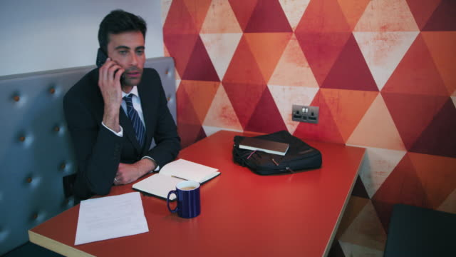 talking on phone - solo un uomo di età media video stock e b–roll