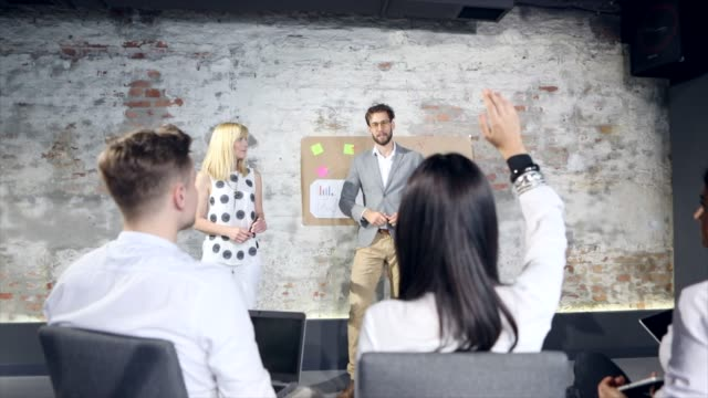 talking with audiences makes more approachable - market research stock videos and b-roll footage