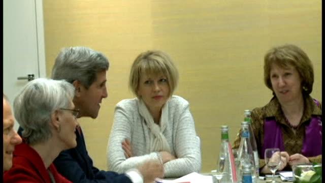 Talks in Geneva over Iran's nuclear weapons programme SWITZERLAND Geneva PHOTOGRAPHY*** John Kerry pointing finger at Mohammad Javad Zarif at talks...