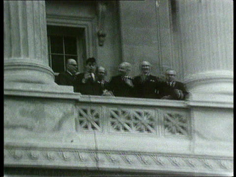 talks taking place at stormont talks taking place at stormont 1970's/ ext utv gv group of unionists outside stormont lalms brian faulkner on balcony... - ストーモント点の映像素材/bロール