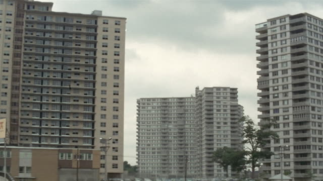 1969 ws pan tu zi tall apartment blocks in city/ brooklyn, new york, usa - brooklyn new york stock videos & royalty-free footage