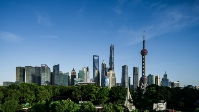 tall buildings in the lujiazui financial district in shanghai, china. time-lapse - shanghai stock videos & royalty-free footage