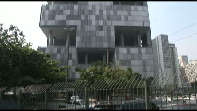 TD Tall gray modern building designed as stacked cubes / Rio de Janeiro Brazil