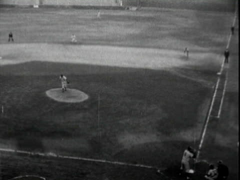 tall, lanky, unidentified white man in teamless & numberless baseball uniform batting at baseball stadium in los angeles, getting a hit & running for... - inning stock videos & royalty-free footage
