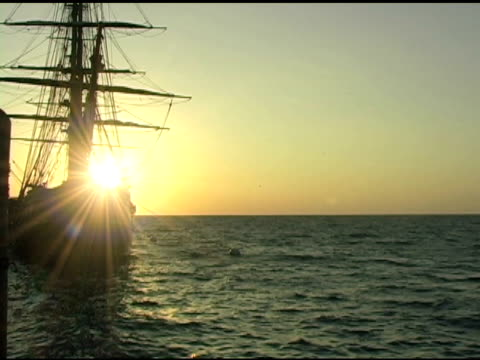 tall ship at sunrise 2 - small group of animals stock videos & royalty-free footage