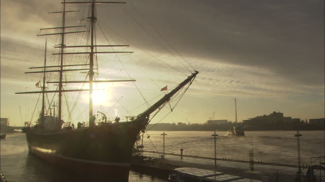 MS, Tall ship moored in Port of Hamburg at twilight, Hamburg, Germany