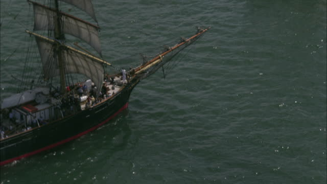 a tall ship sails in an australia day race in sydney harbor. - schiffsmast stock-videos und b-roll-filmmaterial
