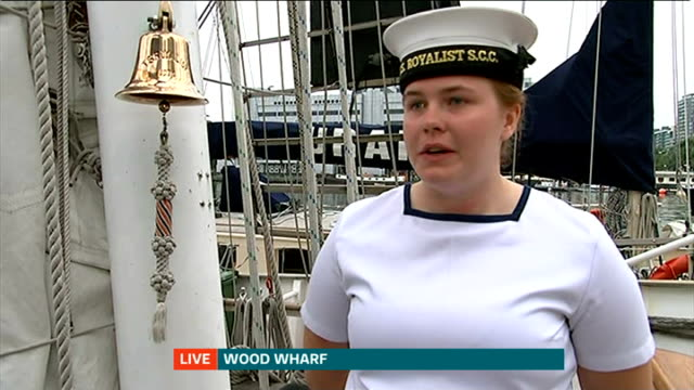 tall ships festival in greenwich; england: london: wood wharf: ext live reporter to camera jessica o'sullivan live interview sot **o'sullivan... - rigging stock videos & royalty-free footage