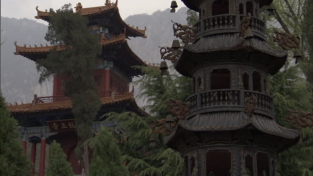 tall temples tower in shaolin. - temple building stock videos & royalty-free footage