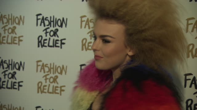 tallia storm at fashion for relief charity fashion show & interviews at somerset house on february 19, 2015 in london, england. - ファッションフォーリリーフ点の映像素材/bロール