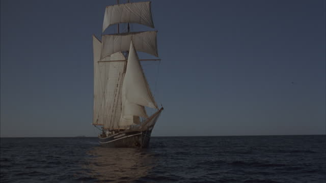 a tall-ships sails under full sails. - ship's bow stock videos & royalty-free footage