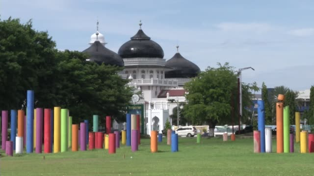 Taman sari park in front of Mesjid Raya Baiturrahman mosque prior to the ten year anniversary of the 2004 earthquake and tsunami