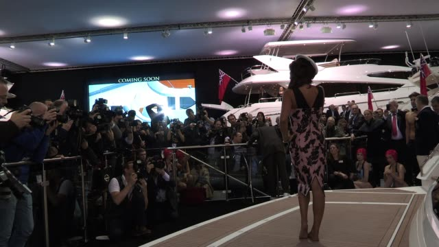 tamara ecclestone poses for photos at the official opening of the london boat show london boat show 2012 tamara ecclestone at excel london on january... - london boat show stock videos and b-roll footage
