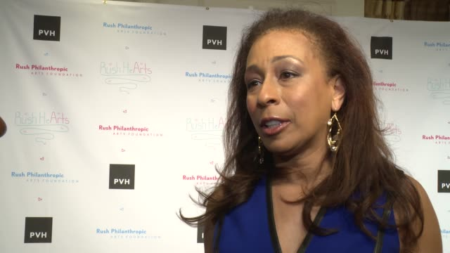 vídeos y material grabado en eventos de stock de interview tamara tunie on russell's support at russell simmons' rush philanthropic arts foundation's annual rush hearts education luncheon at the... - russell simmons